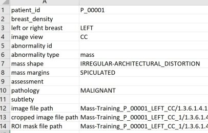 This is the metadata attached to a breast image of patient 1 in the MASS-dataset. A Cranial-Caudal view of the left breast is associated to the file (with path to image given at the bottom). A malignant mass is observed.